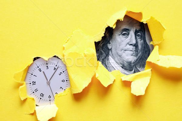 Vakit nakittir saat bir yüz dolar banka Stok fotoğraf © cosma