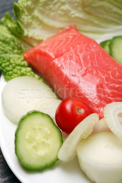 Salmon And Vegetables Stock photo © cosma