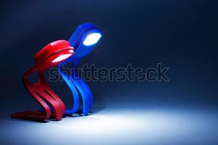 Twee lampen contact Rood Blauw Stockfoto © cosma