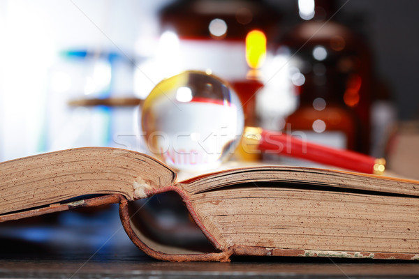 Old Book And Magnifying Glass Stock photo © cosma