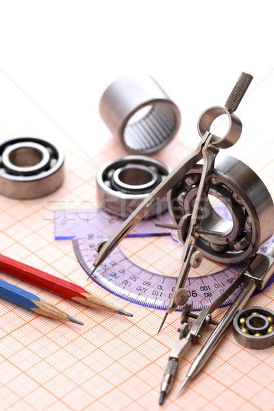 Drawing Instrument And Ball Bearings Stock photo © cosma
