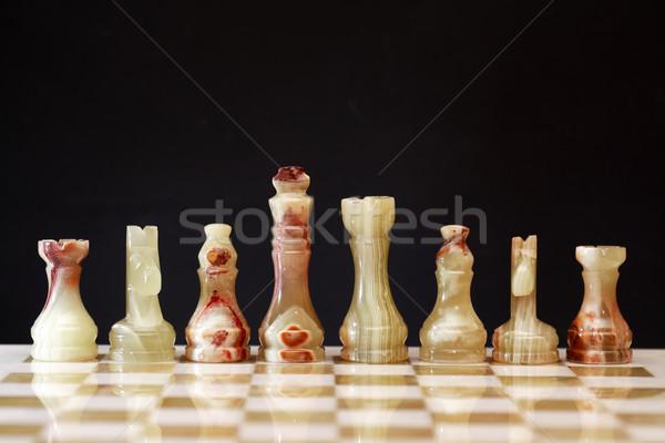 Peças de xadrez conselho conjunto escuro esportes cavalo Foto stock © cosma