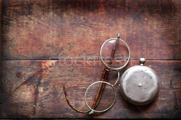 Foto stock: Vintage · natureza · morta · velho · óculos · fechado · relógio · de · bolso
