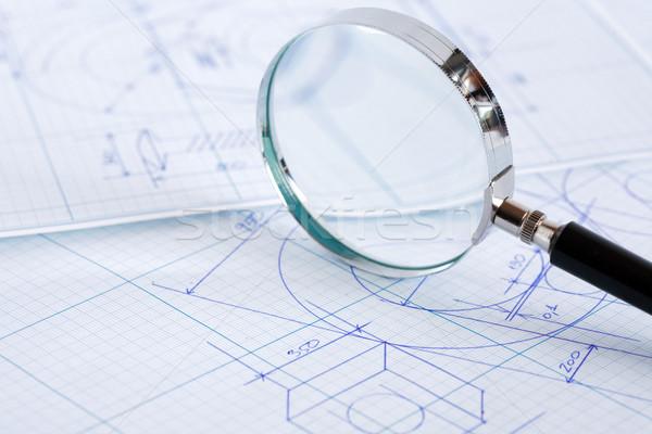 увеличительное стекло план бизнеса бумаги дизайна Сток-фото © cosma