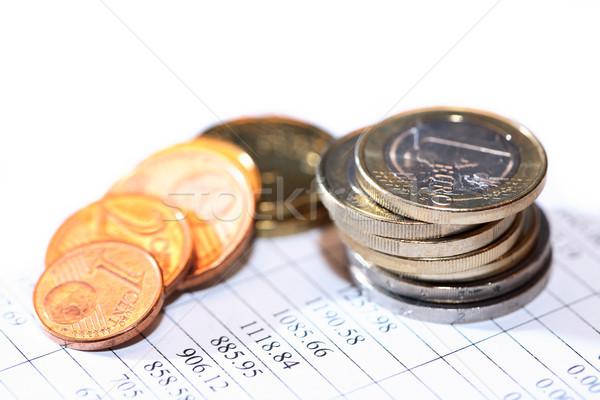 érmék lista közelkép boglya papír számjegyek Stock fotó © cosma