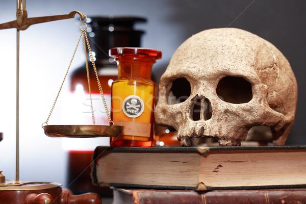 Velho farmácia médico laboratório humanismo crânio Foto stock © cosma