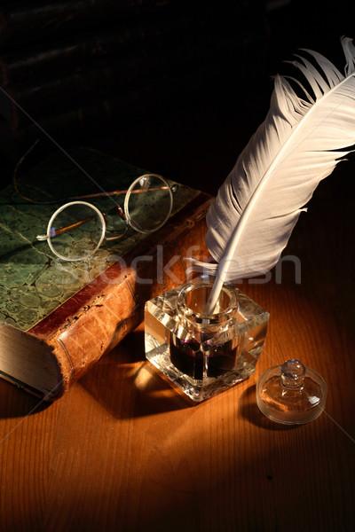 Mürekkep pot kitap bağbozumu natürmort eski Stok fotoğraf © cosma