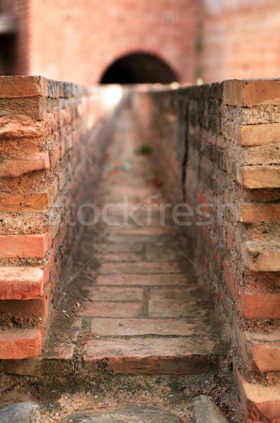 Oude goot baksteen water leveren Stockfoto © cosma