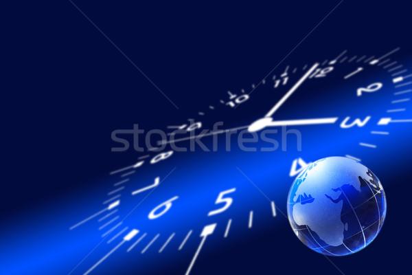 Mondo in giro clock business vetro mondo Foto d'archivio © cosma