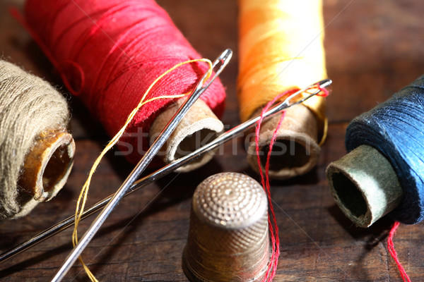 Sewing Set On Wood Stock photo © cosma