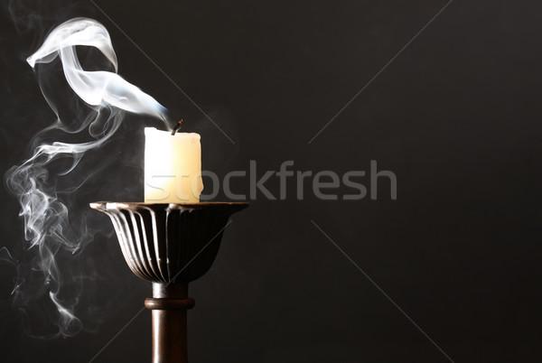Candela buio candeliere fumo fuoco notte Foto d'archivio © cosma