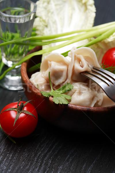 Edény ravioli csendélet vodka zöldségek étel Stock fotó © cosma
