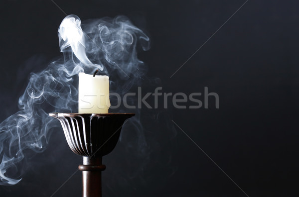 Extinguished Candle On Dark Stock photo © cosma