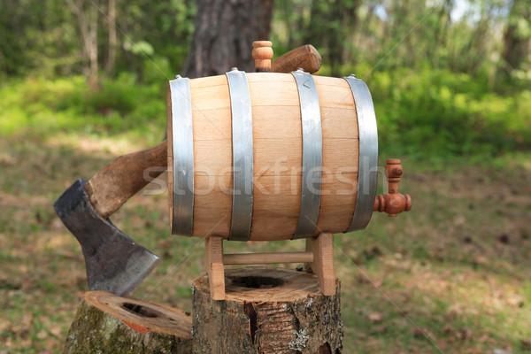 オーク バレル 斧 ワイン 木製 森林 ストックフォト © cosma