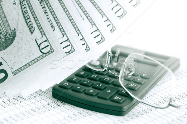 Contabilità finanziaria primo piano dieci dollaro note Foto d'archivio © cosma
