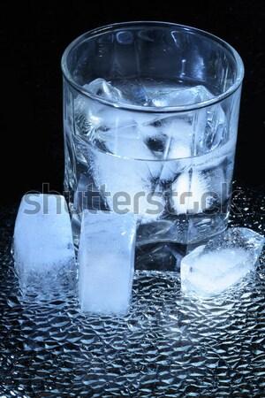 Víz jég üveg jégkockák sötét egészség Stock fotó © cosma