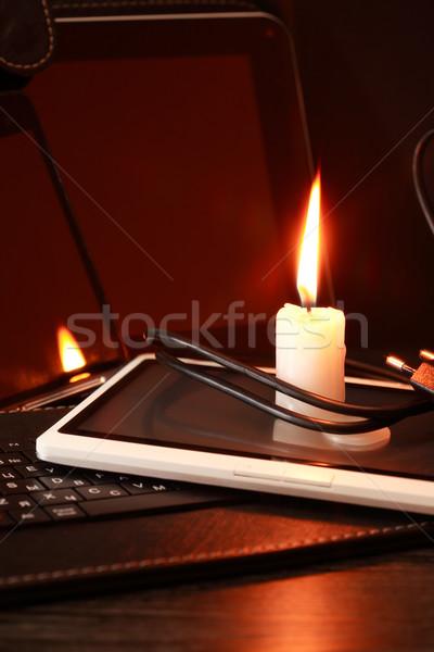 Candle On Computer Stock photo © cosma