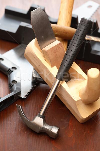 ács szerszámok szett fából készült repülőgép kalapács Stock fotó © cosma