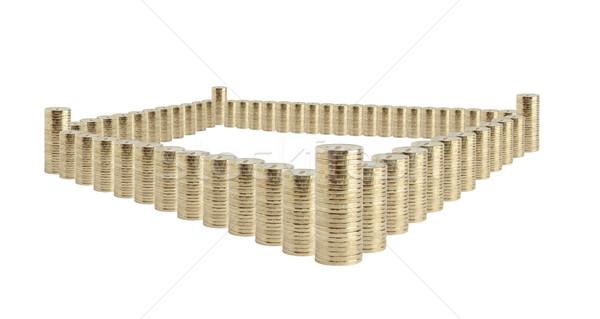 Argent forteresse bancaires pièces blanche château Photo stock © cosma