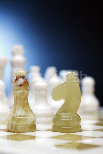 Sakkfigurák tábla szett sötét sport kő Stock fotó © cosma