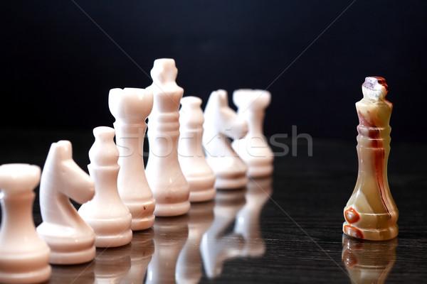Sakkfigurák konfrontáció szett sport absztrakt művészet Stock fotó © cosma