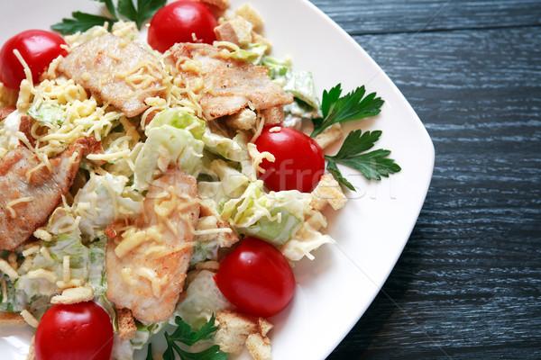 Frit poissons garnir plaque légumes sombre Photo stock © cosma
