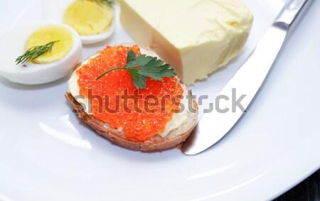 Colazione rosso caviale sandwich piatto burro Foto d'archivio © cosma