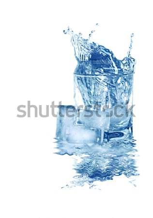 Víz jég üveg hideg csobbanás jégkockák Stock fotó © cosma