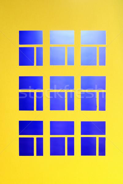 Ablakok papír ház citromsárga fal vág Stock fotó © cosma