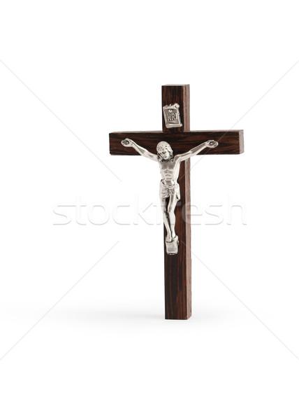 十字架 白 小 木製 立って 孤立した ストックフォト © cosma