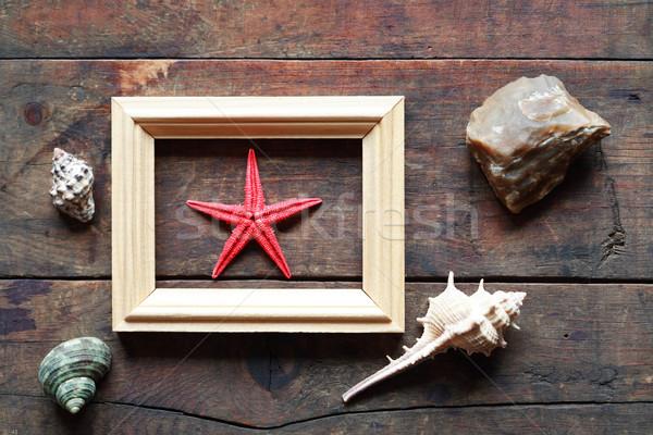 Zeester frame een Rood binnenkant oude Stockfoto © cosma
