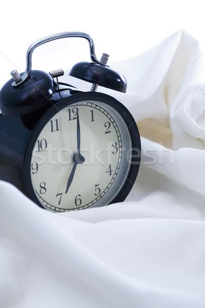 ébresztőóra ágy ébredés fekete fehér lap Stock fotó © cosma