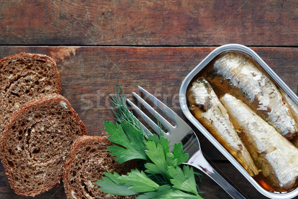 Canned Fish On Wood Stock photo © cosma
