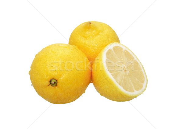 Nedves citromok három fehér vágási körvonal reggeli Stock fotó © cosma