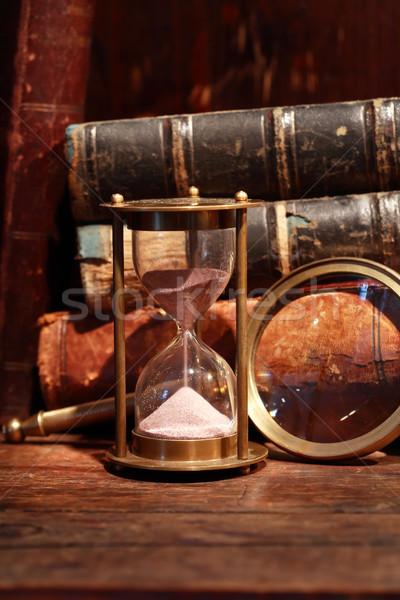 Bağbozumu natürmort kum saati eski kitaplar Stok fotoğraf © cosma