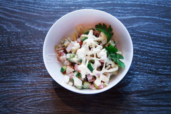 салатницу закуска обеда пластина Салат темно Сток-фото © cosma