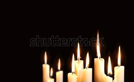 Dziewięć świece oświetlenie czarny wolna przestrzeni Zdjęcia stock © cosma