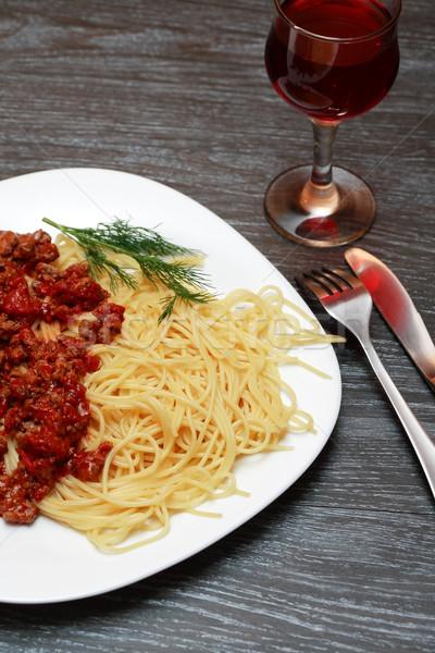 ストックフォト: パスタ · クローズアップ · プレート · 赤ワイン · フォーク · ディナー