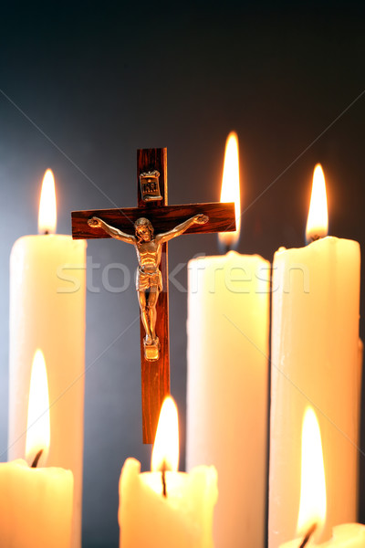 Crucifix And Candles Stock photo © cosma