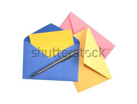 Fehér három színes nyitva vágási körvonal üzlet Stock fotó © cosma