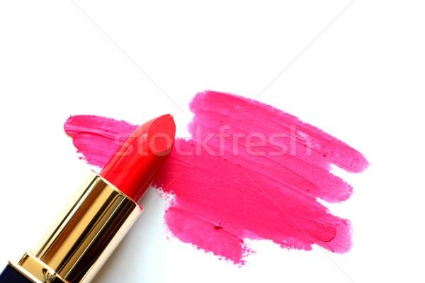 Kırmızı ruj beyaz tüp soyut spot moda Stok fotoğraf © cosma