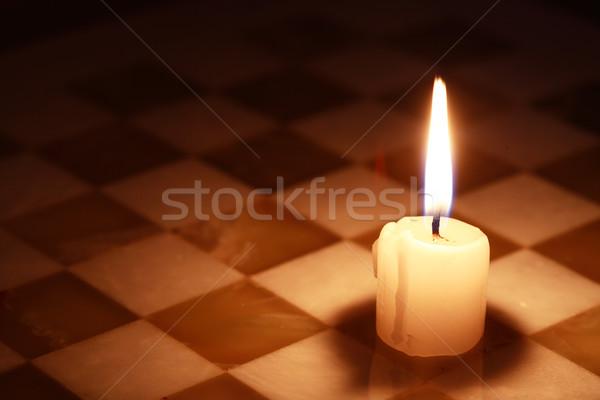 Mum satranç tahtası bir aydınlatma taş Stok fotoğraf © cosma