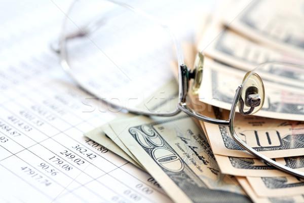Nyereség közelkép szemüveg USA pénz papír Stock fotó © cosma