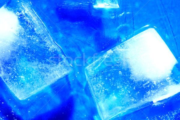 Jégkockák kék fagyott víztükör víz textúra Stock fotó © cosma