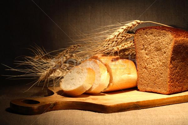 Ekmek buğday tahıl ahşap Stok fotoğraf © cosma