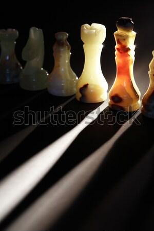 Sakkfigurák szett fény sötét sport művészet Stock fotó © cosma