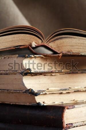 Eski kitaplar tuval kâğıt Stok fotoğraf © cosma