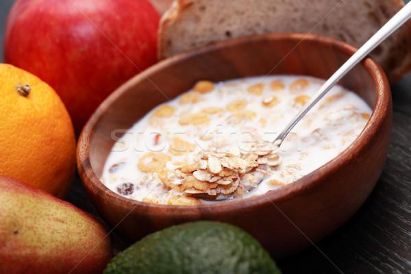 Tál müzli fából készült tej gyümölcsök alma Stock fotó © cosma