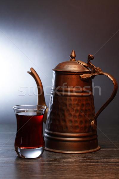 Közel-Kelet tea öreg réz teáskanna üveg Stock fotó © cosma