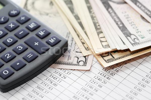 Számológép pénz papír számjegyek asztal pénzügy Stock fotó © cosma